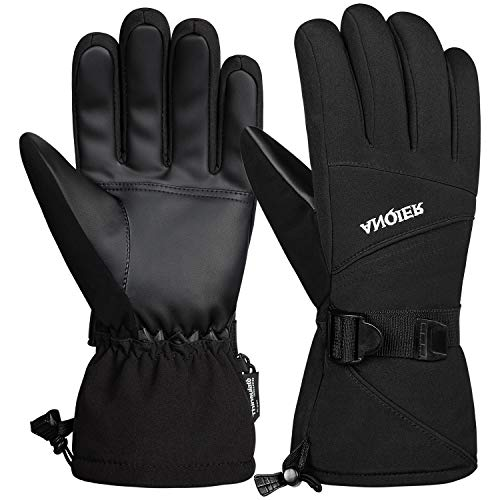 Anqier Waterproof Mens Winter Gloves Thermal Ski Gloves 3M Thinsulate Warm Snowboard Cold Weather Gloves for Men Women (Black, Medium)