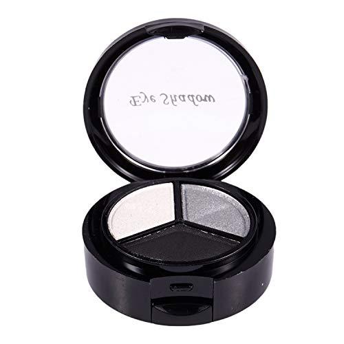Tuneway Professional Smoky Cosmetic Set 3 Colores Natural Mate Sombra de Ojos Herramientas de Maquillaje Paleta Desnudo Sombra de Ojos Brillo # 1 Negro Blanco Gris
