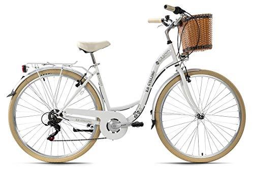 KS Cycling Damenfahrrad Cityrad 28'' Casino weiß 6Gänge RH48cm mit Korb