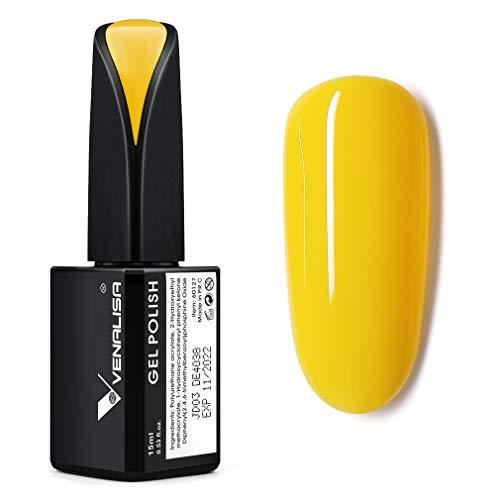 VENALISA 15ml Gel Nail Polish Lemon Yellow Color Soak Off UV LED Nail Gel Polish Nail Art Starter Manicure Salon DIY at Home 053 OZ
