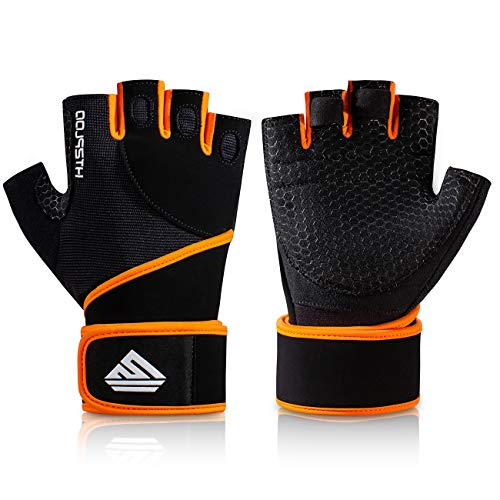 HTZPLOO Workout Gloves Gym Gloves Weight Lifting Gloves for Men Women with Full Palm Pad,Strong Wrist Wraps Support,Enhanced Grip,for Fitness,Training,Weightlifting,Exercise (Black&Orange, Large)