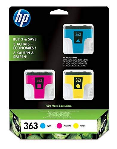 HP 363 Multipack Original Druckerpatronen (1x blau, 1x rot, 1x gelb) für HP Photosmart