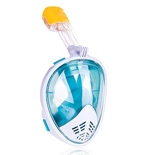 Full Face Snorkeling Snorkel Maskers, 180° Full View Gemakkelijk Ademen Snorkeling Maskers voor volwassenen of kinderen Anti-Fog Veiligheid Duiken met Afneembare Action Camera Slot