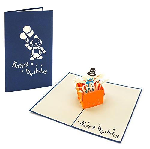 3D Klappkarte, handgearbeitete Grußkarte, Glückwunschkarte zum Geburtstag, inklusive Umschlag und Schutzfolie (Happy Birthday - Clown)
