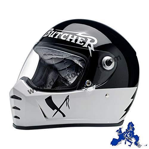 Biltwell - Casco integral Lane Splitter Rusty Butcher homologado blanco negro universal para moto Harley y Custom, talla S