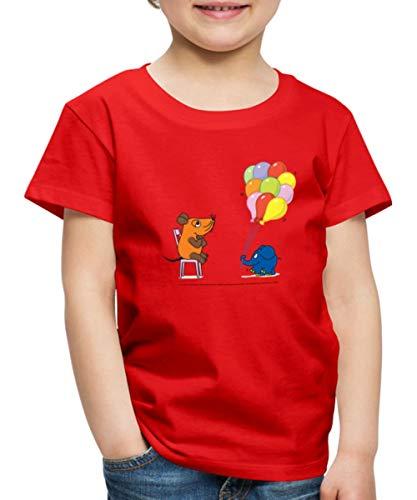 Spreadshirt Sendung Mit Der Maus Luftballons Geburtstag Kinder Premium T-Shirt, 134-140, Rot