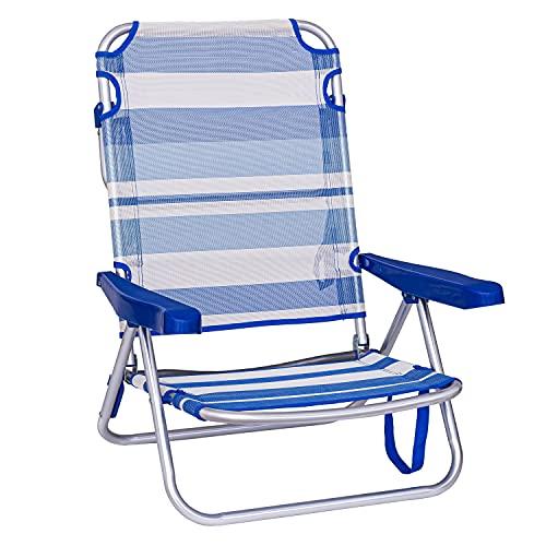 TIENDA EURASIA® Sillas de Playa Plegables - Multi Posiciones - Material Aluminio y Textileno - Disponible en Varios Tamaños y Colores (Azul Rayas, 61 X 47 X 80 CM - 4 Posiciones)