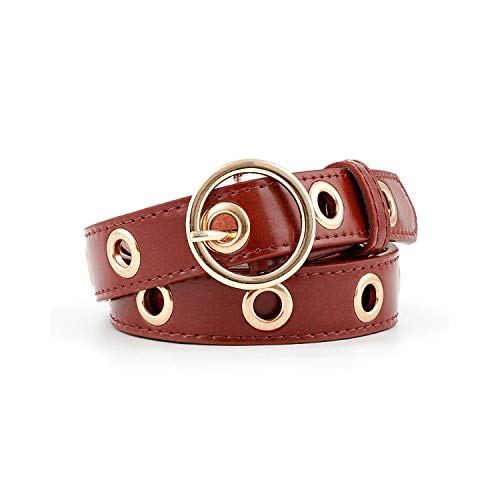 Cinturón, NEW Ladies Round Gold Metal Buckle Belt Female Punk Leather Waist Band Strap Belts For Women Pants Jeans Wholesale