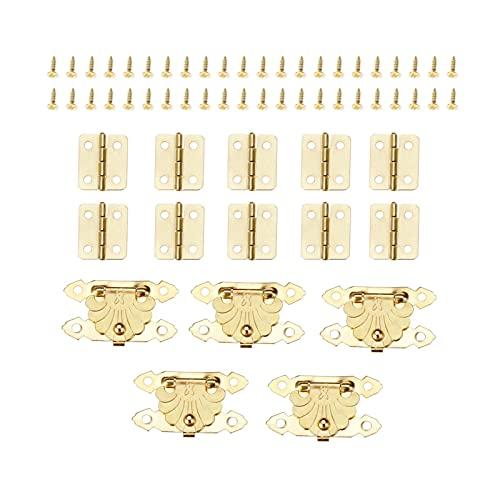 LULIJP Cerniere del Cabinet. 30pcs / Set Box Gold Latch Hasp Clasps 37 * 24mm + Cerniere 18 * 16mm con Viti Fibbie retrò Lucchette Lucchette Gioielli in Legno