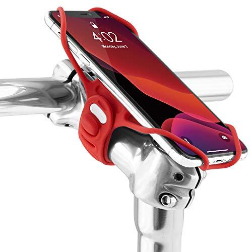 Bone Handyhalterung Fahrrad für den Vorbau Befestigung, Stoßdämpfer Handyhalter für Smartphone 5,8-7,2 Zoll, Staße- Renn- und Tourenrad iPhone Samsung Huawei Pixel - Bike Tie Pro 3 – Rot