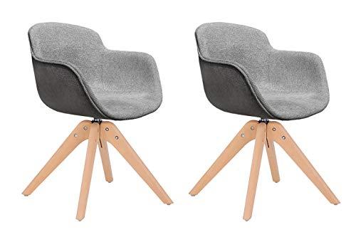 Meubletmoi Drehstühle aus Stoff, Grau / Anthrazit meliert, mit Armlehnen und Füßen aus Holz, skandinavischer Stil, 2 Stück