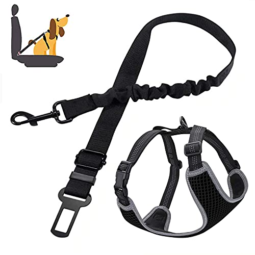 LVGOD Perro Ajustable Arnés Cómodo Transpirable Chaleco Acolchado Cinturón Seguridad Perro Coche Ajustable para Mascotas Perro