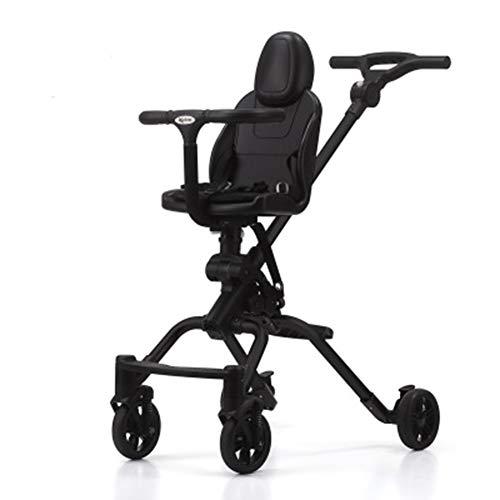 Lucun Hoher Landschaftspaziergänger, einfach zu bewegendes Reisesystem mit Einer Hand, in Zwei Richtungen fahrbarer Schockwagen, geeignet für Baby über sechs Monate,Black