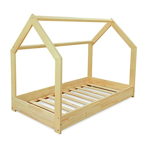 MS FACTORY Cama Infantil de Madera Pino - Cama Montessori Forma de Casa 80x160 cm para Niño y Niña - Lamas Somier - Natural