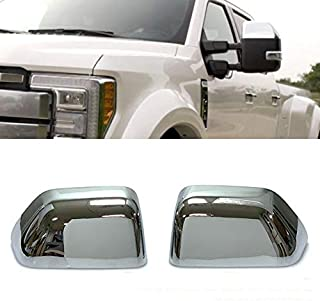 Chrome Side Door Half Top Mirror Cover Trims Fit for 2017-2019 Ford F-250 F-350 Super Duty
