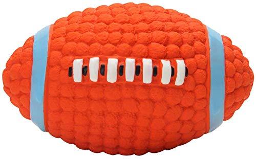 SHANGUP Hundeball Quietschend Hundespielzeug für kleine,mittelgroße und große Hunde unzerstörbares Kauspielzeug für Zähne Reinigungsball für Aggressive Kauer (Orange Rugby Fußball)
