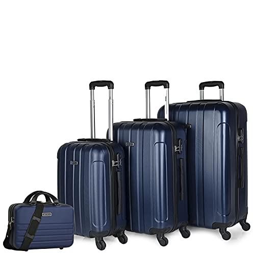 ITACA - Set di 4 valigie rigide da viaggio 4 ruote Trolley 55/64/73 cm + Beauty case ABS. Maniglia Maniglie Lucchetto. Piccola Cabina Media e Grande. 771100, Color Cowboy blu