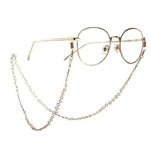 Glaskette Brillenzubehör Modische, schlichte, rutschfeste Brillen aus Metall Star Brillen Kette, sichere Brillen Schnur Sonnenbrille Umhängeband Brillenhalter Seil Brillengestellhalter for Frauen