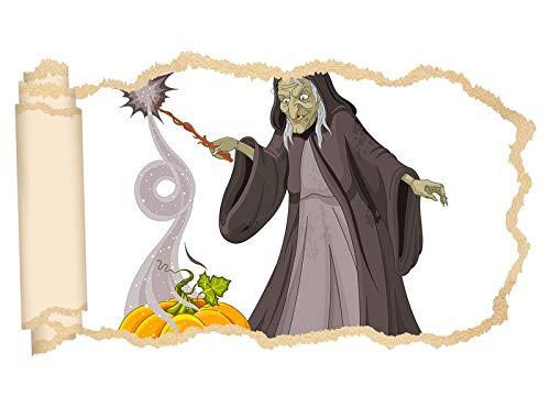 3D muursticker kinderkamer cartoon oude heks toverstaf Halloween pompoen behang muur stickers muurdoorbraak sticker zelfklevend muurschildering muursticker woonkamer 11P697 ca. 140cmx82cm
