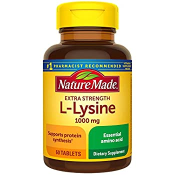 Nature Made Extra Strength L-Lysine 1000 mg Tablets 60 Count for Protein Synthesis