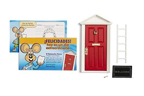 ? Ratoncito Pérez: Puerta Mágica Roja + Escalera + Felpudo + Llave + Postal de Felicitación + dibujo para anotar y pintar las fechas de los dientes caídos