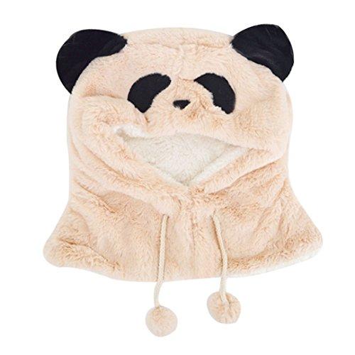 Meliya mignon Hiver chaud Chapeau Ensemble écharpe à capuche Unisexe bébé enfant Pull Chapeau écharpe 1 pièce en forme de panda Chapeau Cache-col kaki taille unique