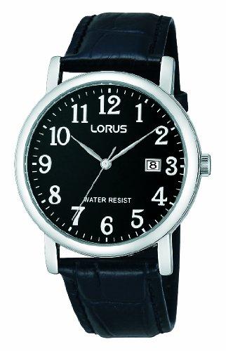 Lorus Klassik Herren-Uhr mit Palladiumauflage und Lederband RG837CX9