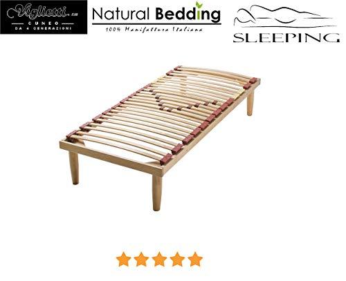Lattenbodem voor eenpersoonsbed, model: Contract 80 x 190 cm, lattenbodem van massief hout, beukenhout, regulatoren met poten 34 cm