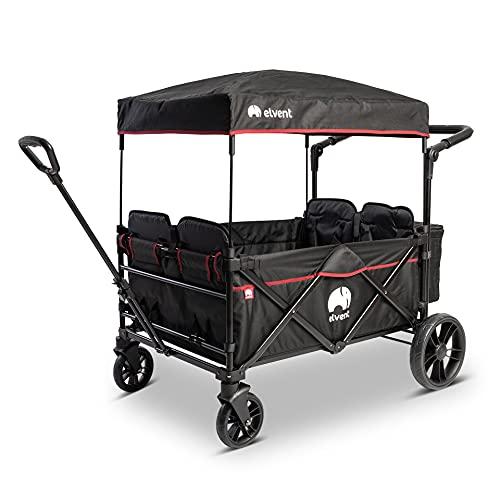 elvent® WagonPro City Bollerwagen/Handwagen faltbar mit Dach I 4 Sitzplätze | groß I Sitzpolster, Hecktasche, Feststellbremse, 5-Punkt-Gurt I für 4 Kinder (Schwarz)