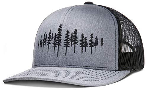 LARIX GEAR Trucker Hat, Tamarack Forest (Heather Gray, Black Hat) Black Logo