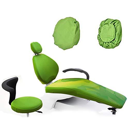 BIUYYY 4 Teile/Satz Elastische Schutzhülle Dental Stuhl Sitzbezug Kopfstütze Rückenlehne Schutz Zahnarzt Ausrüstung, Grün