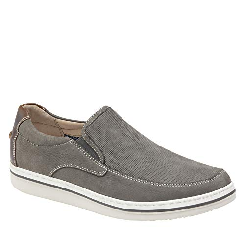 Johnston & Murphy Men's Bowling Moc Venetian Shoe Gray Embossed Tumbled Nubuck 8 M US