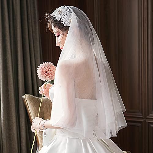 Hwjmy Diadema de viaje con perla retro para novia, cabeza de boda, accesorio corto para fotos de boda (color: blanco, tamaño: 60 cm 80 cm)