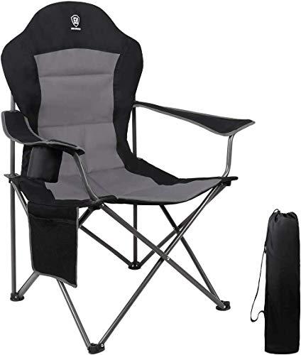 EVER ADVANCED Klappstuhl Campingstuhl Angelnstuhl faltbar hoher Rücken mit Getränkehalter Seitentasche Übergröße belastbar 136kg schwarz
