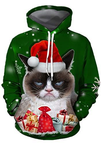 Unisex Snowflake Grumpy Cat Pullover Hoodie Kangaroo Sweatshirt XL Dark Green