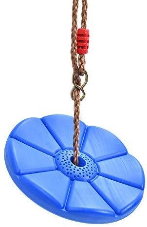 Sutekus Disc Swing Daisy Disc Swing Monkey Swing Rope Plastic Tree Swing (Blue)