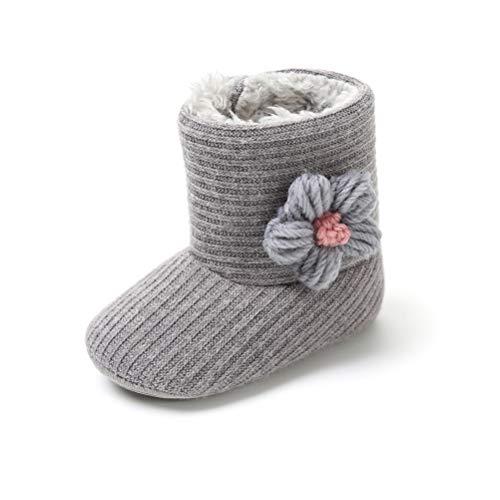 Botas de Ganchillo Lana Bebé Invierno Soft Sole Crib Caliente Patucos de Niñas Algodón con Flor (6-12 Meses, Gris)