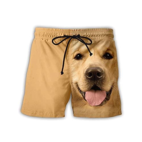OUGEA Pantalones Cortos para Hombre,Hombre Bañador 3D Estampado Perros Verano Secado Rápido Playa Shorts Ocio Bañadores Bañadores-005_4XL