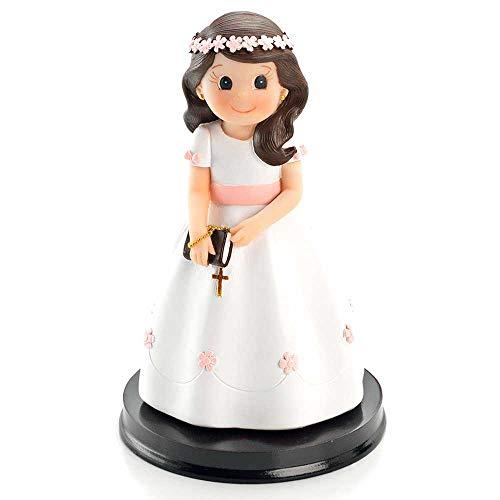 Figura tarta niña Comunión con vestido blanco, detalles