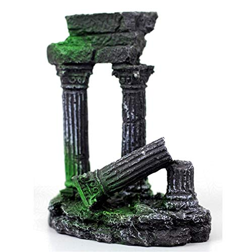JONJUMP Artificial Roman Column Greece Temple Ruin Aquarium Decoration Aquatic Roman Building Ornaments Fish Tank Stone Decor