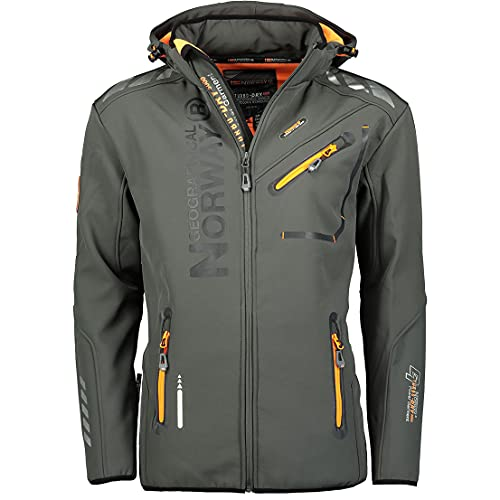 Geographical Norway Herren Softshell Outdoor Jacke Rainman Turbo-Dry Kapuze (XXL, Dunkel Grau)