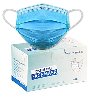 Face Mask, 50 Pcs/Box, Disposable Mask - 3PLY Filter + 3 Layer Anti Dust Particulates Mask Breathable   Single Use Adult Face Masks w/Adjustable Noseband & Earloop
