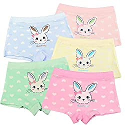 Cute Bunny Deisgn: cute bunny with love heart printing on the front part, lovey pants for every girl choose from novelty cartoon character printed design Good Breathability: Super sweat absorbent and breathable material, let kid's skin free to breath...