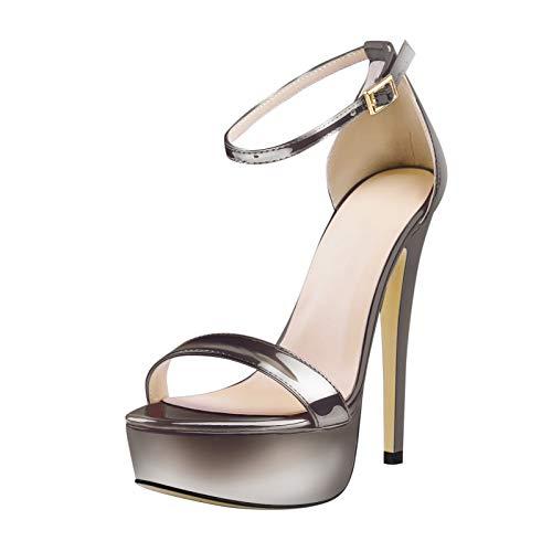 Only maker Sandalias de mujer con plataforma, brillantes y metalizadas, sandalias con correa, color, talla 41 EU
