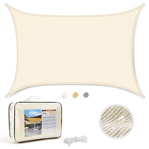 Levesolls Toldo Vela de Sombra Rectangular 4 x 3 m Protección Rayos UV Impermeable Resistente para Patio, Exteriores, Jardín, Color Crema