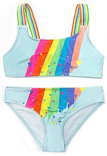 SHEKINI Little Girls Beach Sport Swimsuits Toddler Two Piece Bikini Rainbow Sets (Blue Rainbow,6-7 Years)