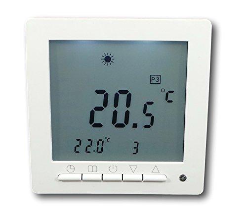 SM-PC®, Digital Thermostat für Fussbodenheizung max 16A, großes Display, Wochenprogramm, weiße Hintergrundbeleuchtung #847
