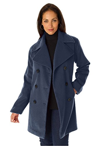 Jessica London Plus Size Petite Classic Wool Pea Coat (Navy,14 P)