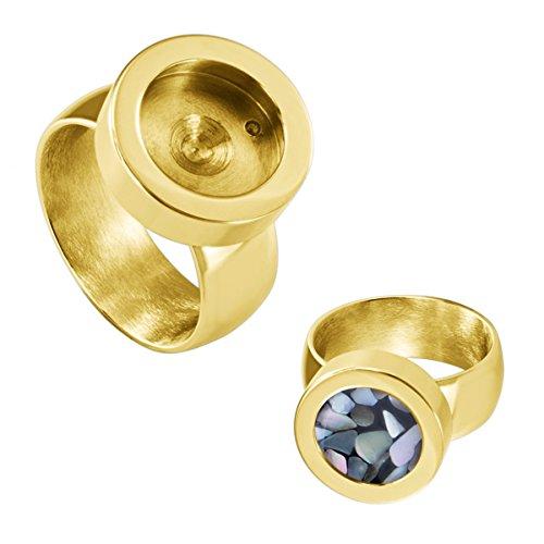 Quiges Edelstahl Wechselbare Mini Coin Münze Solitär-Ring Damen Gold Glänzend Durchmesser 17mm