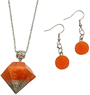 Aga Sterling Silver and Resin Diamond and Round Shaped Handmade Jewelry Set for Women - 3 Pieces, Orange and Silver